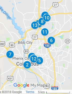 Columbus Georgia Debt Loan Providers Map