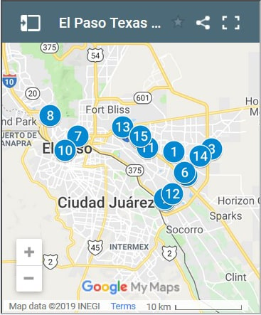 El Paso Texas Debt Loan Providers Map