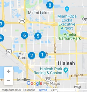 Hialeah Florida Debt Loan Providers Map