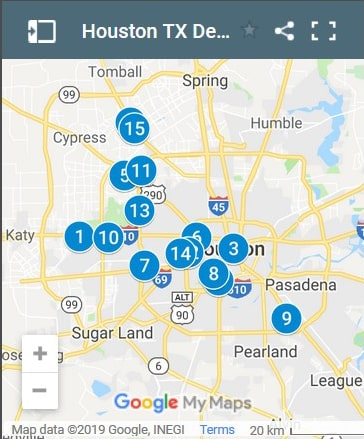 Houston Texas Debt Loan Providers Map