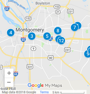 Montgomery Alabama Debt Loan Providers Map