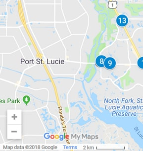 Port St. Lucie Florida Debt Loan Providers Map