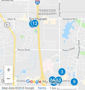 Southaven Mississippi Debt Loan Providers Map